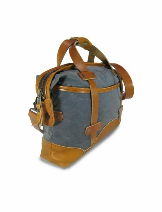 Aviator Briefcase: Angled - Grey and English Tan