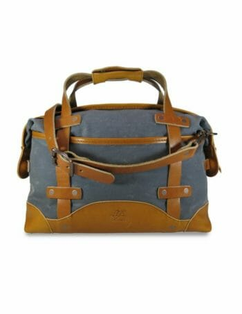 Aviator Briefcase: Front - Grey and English Tan