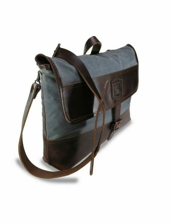 Commuter Briefcase: Angled - Grey and Havana Brown