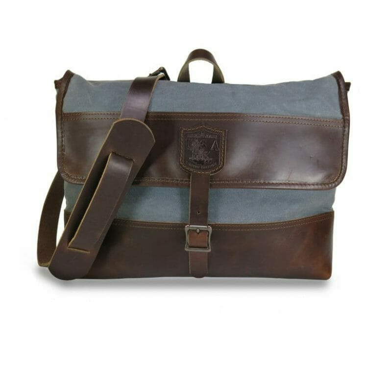 Commuter Briefcase: Front - Grey and Havana Brown