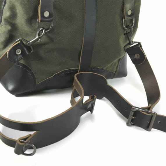 Creel Pack: Back and Strap Closeup - Olive Green and Black
