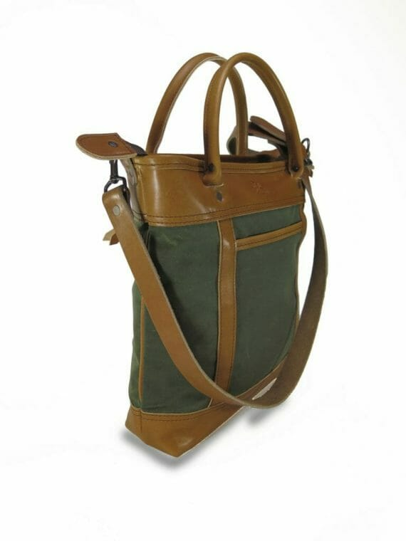 H2 Officer Zip Tote: Angled - Olive Green and English Tan