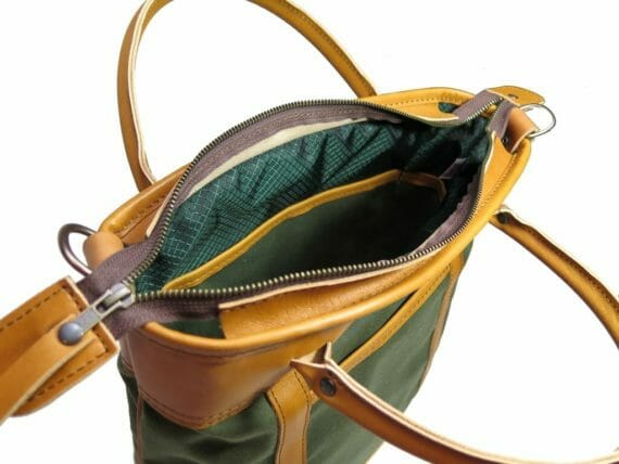 H2 Officer Zip Tote: Inside - Olive Green and English Tan