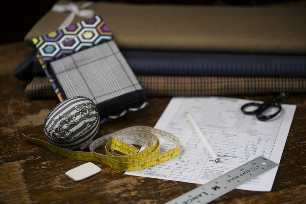 Tailoring Tools and Fabric Samples