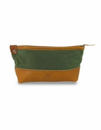 Dopp Kit Front View - Grey and English Tan